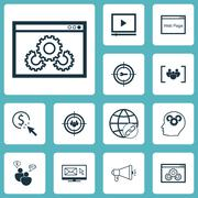 Set Of Marketing Icons On Website Performance, Focus Group And PPC Topics. Ed Stock Illustration