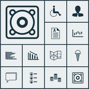 Set Of 12 Universal Editable Icons. Can Be Used For Web, Mobile And App Desig Piirros