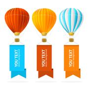 Hot Air Balloon Banner. Vector Piirros