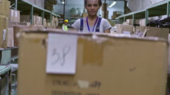 Female Factory Worker with Warehouse Trolley Stock Footage