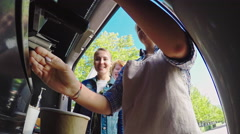 Blond Barista Making Coffee for Customers Stock Footage