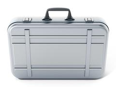 Metal briefcase isolated on white background. 3D illustration Stock Illustration