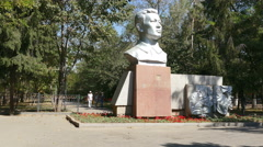 Dzhandosov Monument 4K Panorama Stock Footage