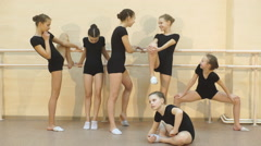 A group of dancers after classes Stock Footage