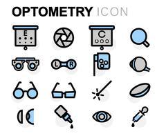 Vector flat line optometry icons set Stock Illustration