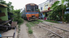 Train in the Bangkok's Talat Phlu district Stock Footage