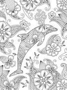 Coloring page with one jumping dolphin on floral background Piirros