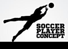 Diving Goal Keeper Silhouette Soccer Player Stock Illustration