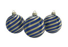 Blue and gold decorative Christmas balls. Isolated New Year image. Stock Illustration