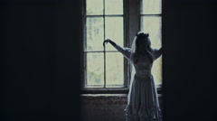 Halloween day with creepy zombie bride Stock Footage