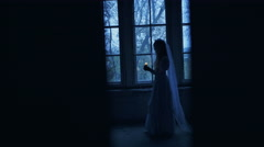 Fear Night, Ghost in Haunted House Stock Footage