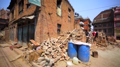 Destroyed by the earthquake houses in Bhaktapur, Nepal, and building works. Stock Footage