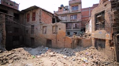 Buildings destroyed in Bhaktapur, Nepal, by the earthquake in April 25, 2016 Stock Footage