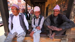 Portrait of a few newar old men in Bhaktapur, Nepal Stock Footage