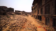 Buildings destroyed in Bhaktapur, Nepal, by the earthquake in April 25, 2015 Stock Footage