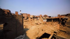 Buildings destroyed in Bhaktapur, Nepal, by the earthquake in April 25, 2017 Stock Footage