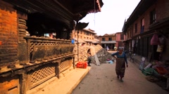 Buildings destroyed by the earthquake in 2015. Undamaged temple. Bhaktapur Stock Footage