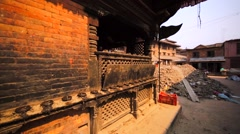 Undamaged temple and buildings destroyed by the earthquake in 2015. Bhaktapur Stock Footage