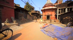Walking along the street. Buildings destroyed by earthquake in 2015. Bhaktapur Stock Footage