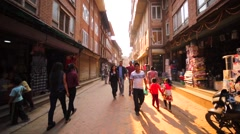 Walking along the street. Stores are on the both sides of the street. Bhaktapur Stock Footage