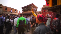 Preparation for Nepalese New Year (Bisket Jatra) celebration. Bhaktapur, Nepal Stock Footage