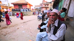 Portrait of an smoking old newar men. Bhaktapur, Nepal Stock Footage