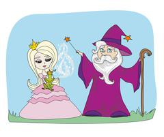 Cartoon illustration of Fantasy Wizard with Magic Wand Casting a Spell and En Stock Illustration