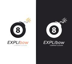 Vector billiard ball and bomb logo combination. Snooker and destruction symbol Stock Illustration