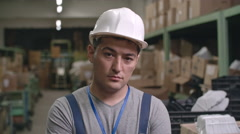Portrait of Smiling Asian Factory Worker Arkistovideo
