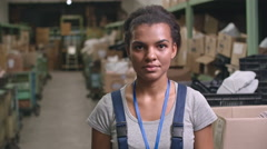 Laughing Latin-American Factory Worker Stock Footage
