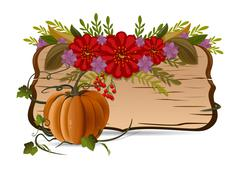 Autumn still life with pumpkin, flowers and vintage wooden board Stock Illustration