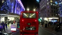 London Oxford Street Night View, Christmas Decoration present. Stock Footage