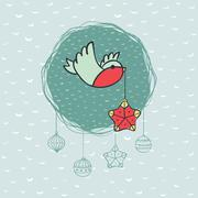 Christmas and New Year round frame with bird symbol. Greeting card. Stock Illustration
