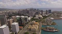 Aerial Aloha Tower and downtown Honolulu, Hawaii Arkistovideo