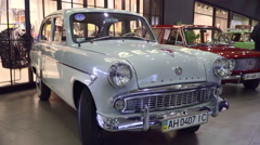 Exhibition of Soviet retro car Moskvich 407. Front view Stock Footage