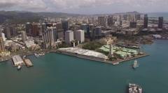 Aerial Aloha Tower and downtown Honolulu, Hawaii Stock Footage