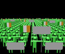 Crowd of people with signs and Irish flags illustration Stock Illustration