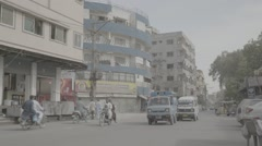 City shot of Hyderabad transport, Pakistan Stock Footage