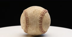Turning old baseball on Turn table Stock Footage