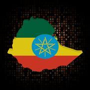 Ethiopia map flag on hex code illustration Stock Illustration