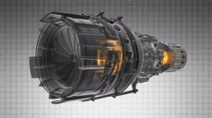 Rotate jet engine turbine of plane, aircraft concept, aviation and aerospace ind Stock Footage
