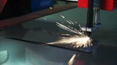Metal Cutting Machine cuts shiny tin Stock Footage