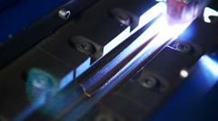 Glowy welding machine close up Stock Footage