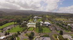 Aerial Laie Hawaii Temple, Oahu Stock Footage