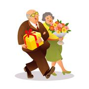 Happy elderly couple with a bouquet of flowers and gift Piirros