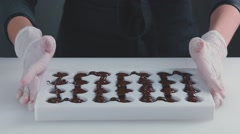 Tempered chocolate in Mold. Slow motion. Confectionery Stock Footage