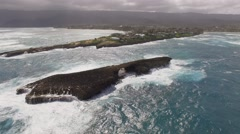 Aerial Laie Point State Wayside Hawaii Stock Footage