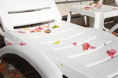 Empty sun loungers at the hotel with fallen leaves Stock Photos