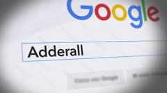 Google Search Engine - Search For Adderall Stock Footage