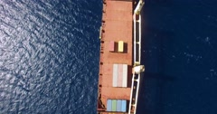Cargo ship at sea - top shot Stock Footage